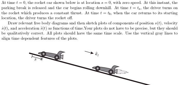 conceptual problem of a rocket car on a slope